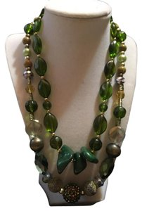 Anna's Art Clear, Green, Multi Crystals, Aventurine Necklace