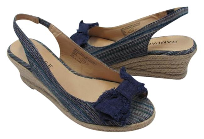 Item - Blue Tan New M Very Good Conditoin Wedges Size US 7 Regular (M, B)