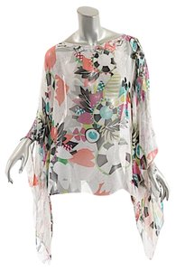 Etro ETRO 100% SILK CHIFFON FLoral Poncho CAPE Off White Background