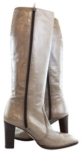 Bruno Magli Leather Zip Boot Taupe Grey Boots