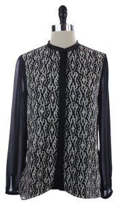 Tahari Sheer High Dress Shirt Top BLACK AND WHITE