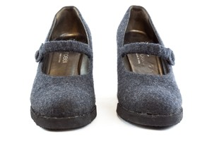 Sergio Rossi Wool Grey Mary Jane Wedge Gray Pumps