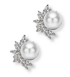 Silver Plated Dainty Shell Pearls with Cz Stud .. Earrings
