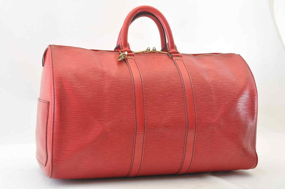 d9e9b1bf29d Louis Vuitton Keepall 45 Epi Leather Red Weekend Travel Bag - Tradesy