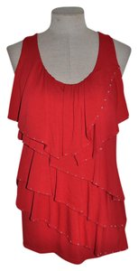 White House | Black Market Sleeveless Scoop Neck Date Night Night Out Top Red
