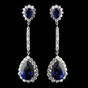 Elegance By Carbonneau Sapphire Blue Cz Drop Earrings