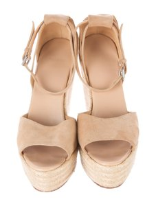 Herms Tan Suede Espadrille Heels Brown Wedges