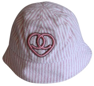 Chanel Pink White Striped Terry Cloth Buket Hat