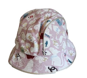 Chanel Pink Animal Bucket Hat Gold Piping