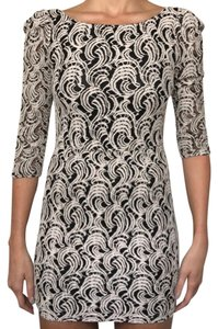 Gianni Bini Crochet Woven Two-tone Fitted Dress
