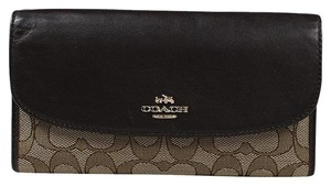 Coach Coach Signature Checkbook Khaki/Brown Wallet F55202