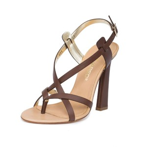 Dsquared2 2 Leather Made In Italy High Heel Brown Sandals