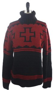 Ralph Lauren Polo Black Cross Chunky Knit Aztec Sweater