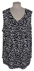 Worthington Cowl Sleeveless Shell Top Black & White