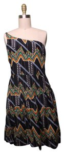 Twelfth St. by Cynthia Vincent short dress black, white, red, green, yellow One Shoulder Western Aztec on Tradesy