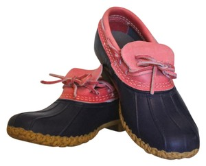 L.L.Bean Weather-proof Rubber Leather Navy, Pink Boots