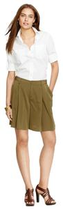 Ralph Lauren Pleated Wide Leg Pockets Dress Shorts Olive Green