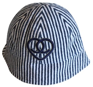 Chanel Navy White Striped Terry Cloth Bucket Hat