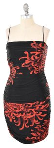 David Meister Ruched Silk Jersey Holiday Dress