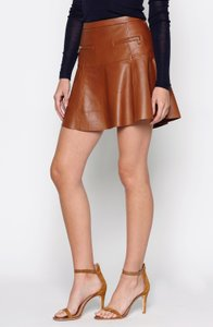 Joie Leather Mini Skirt Luggage Brown