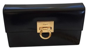 Salvatore Ferragamo Shoulder Black Clutch