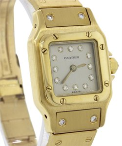 Cartier Ladies Cartier Santos 18k Yellow Gold 23mm Diamond Dial Watch