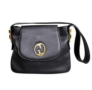 Gucci Leather Shoulder Tote in Black