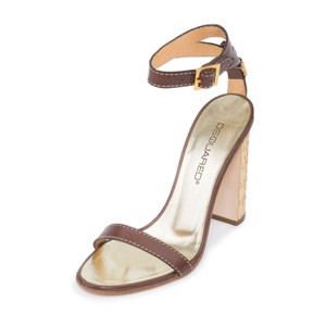Dsquared2 D2 Women Straw Heel Genuine Leather Brown Sandals