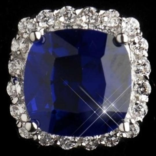 Elegance by Carbonneau Silver Sapphire Blue Cz Stud Earrings
