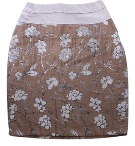 Eva Franco Anthropologie Floral Skirt Gray