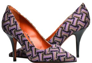 Missoni Pointed Toe Pattern Fabric Purple Pumps