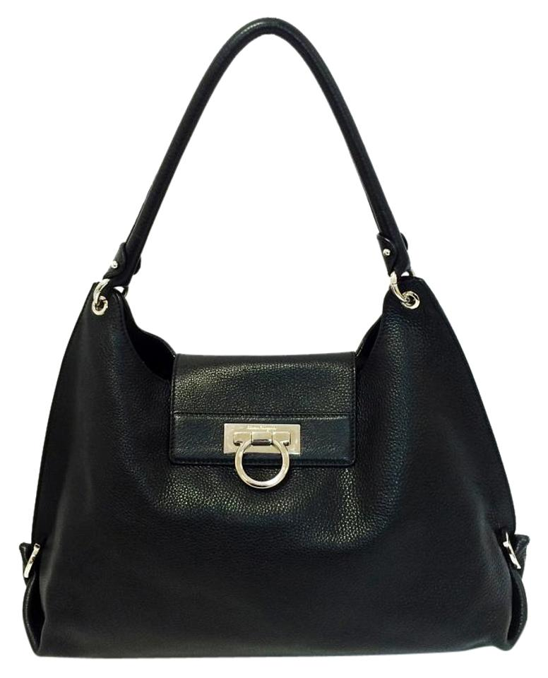 Salvatore Ferragamo Fanisa Large Black Nero Pebbled Leather Hobo Bag ... b5820c74564c8