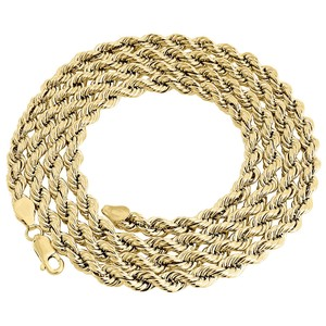 1/10th 10K Yellow Gold 4.50 MM Hollow Rope Chain 24