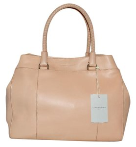 Liebeskind East West Carry All Structured Woven Handles Cowhide Leather Tote in Peach Creme