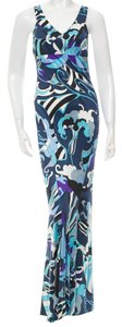 Emilio Pucci Silk Silver Hardware Maxi Dress