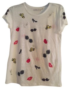 Alice + Olivia T Shirt white with colored beads