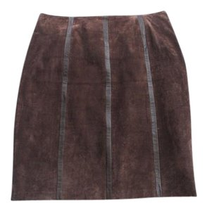 Alfani Suede Leather Skirt Brown