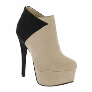 Red Circle Footwear Two-tone Patches Hi Heel Platform Black/Nude Boots