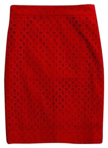 J.Crew Back Vent Lined Sits At Waist Pencil Eyelet Pattern Skirt Chili