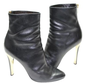 Jimmy Choo Gold Heel Black Boots