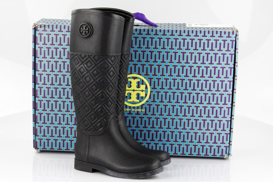 2d24a269fe1a00 Tory Burch Black Marion Quilted Rubber Boots Booties Size US 6 ...