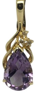Other 14K Yellow Gold Natural Amethyst and Natural Diamond Pendant