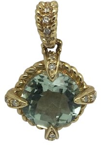 Other 14K Yellow Gold Natural Green Amethyst and Diamond Pendant