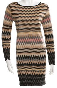 Missoni short dress Brown, Beige, Black, Gold Knit Striped Chevron V-neck Longsleeve on Tradesy