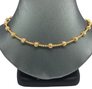 18K Solid Yellow Gold Diamond Cut All Around Balls Necklace