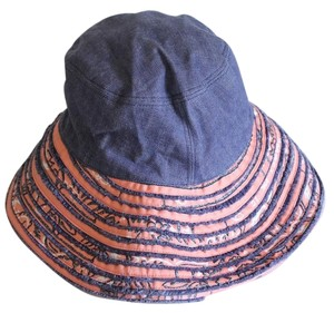Chanel Denim Peach Bucket Hat Wide Brim Bandana Print