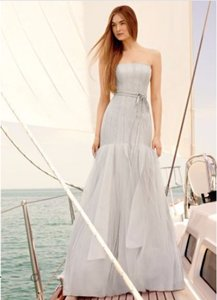 Vera Wang Ashy Gray Strapless Satin And Organza Fit And Flare Wedding Gown Dress Wedding Dress
