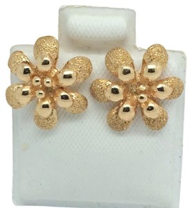 Other 18K Solid Yellow Gold Flower Stud Earrings