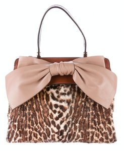 Valentino Bow Leather Calf Hair Animal Print Tote in Leopard