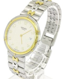 Herms Hermes Stainless Steel Gold Datejust Mid Size Watch